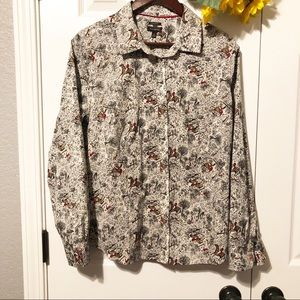Talbots Derby Riding Horse Button Down Blouse